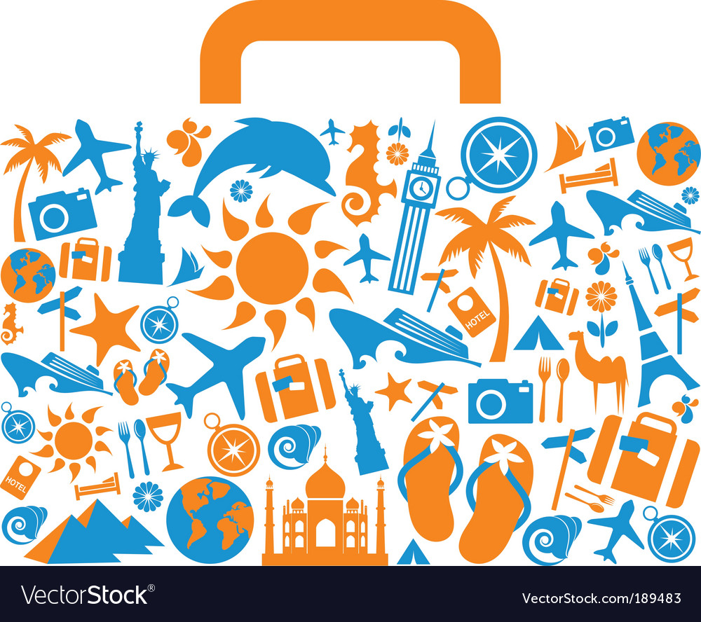 Travel and vacation icons suitcase vector