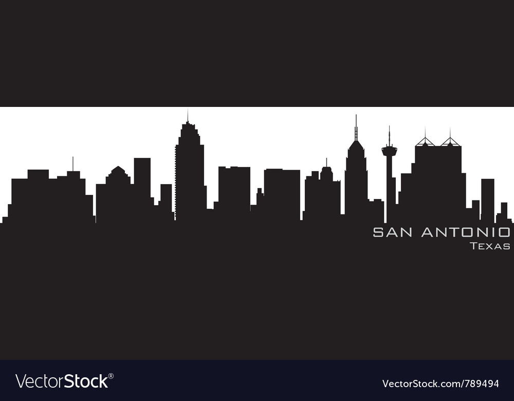 San antonio texas skyline detailed silhouette vector