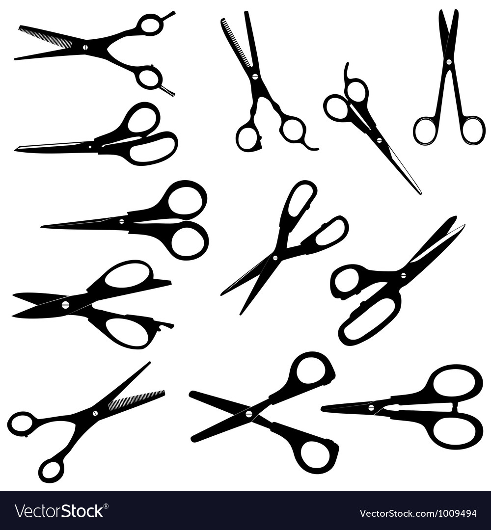 Silhouette scissors on white vector