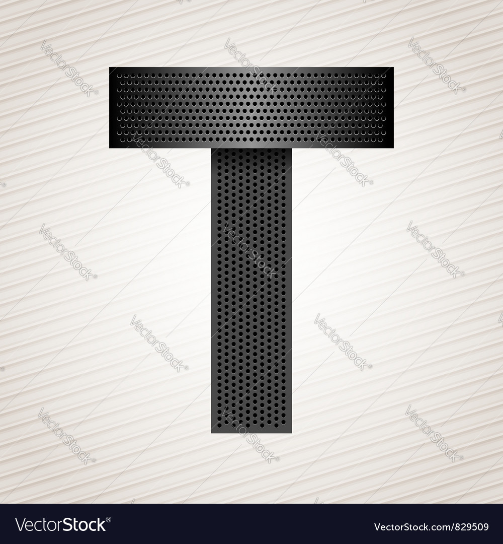 Letter metal ribbon  t vector