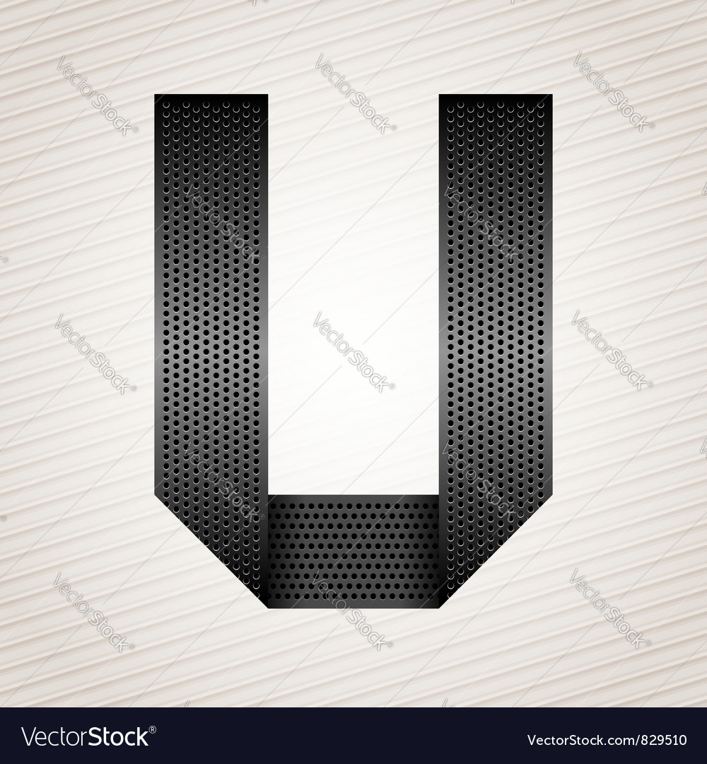 Letter metal ribbon  u vector