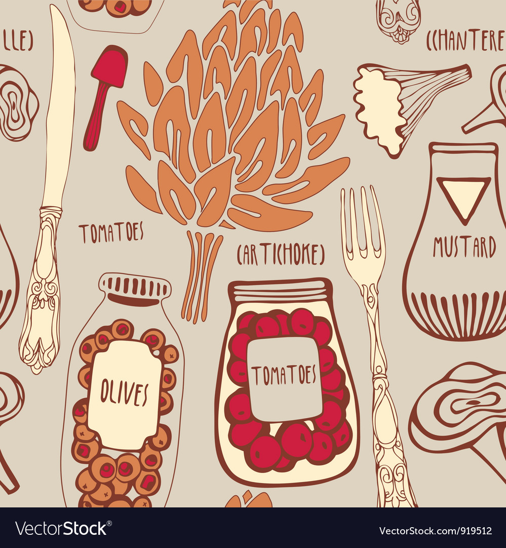 Vintage gourmet cooking pattern vector