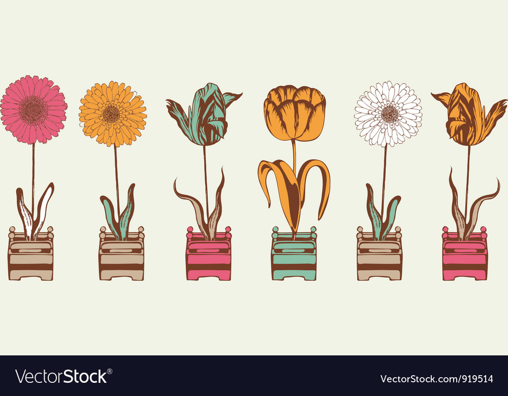 Vintage summer flowers pattern vector