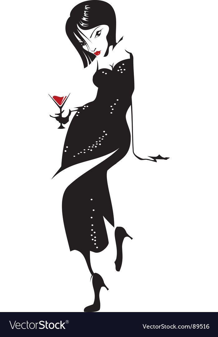 Girl with wine glass vector