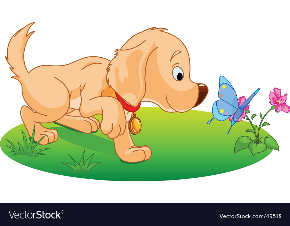 Playing puppy vector