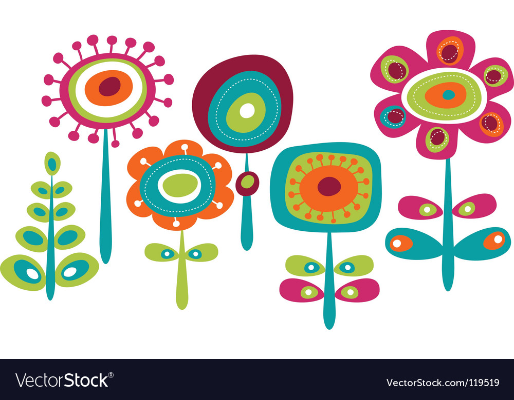 Childish floral graphics vector