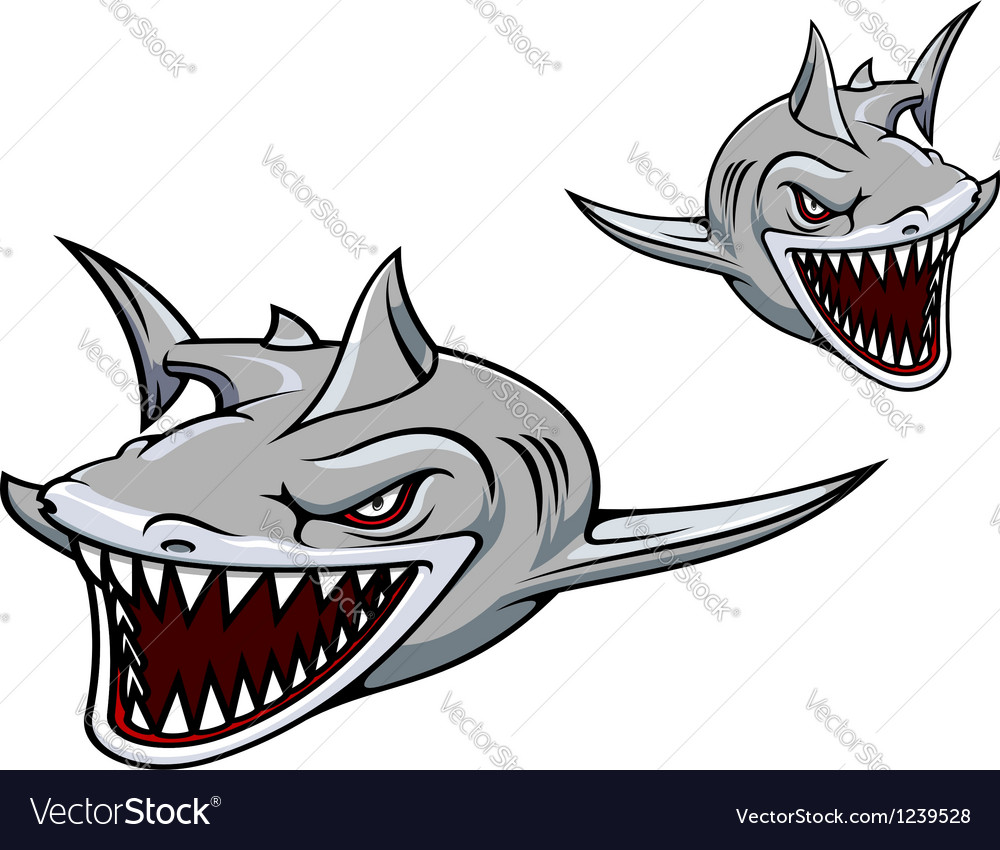 Gray shark mascot vector