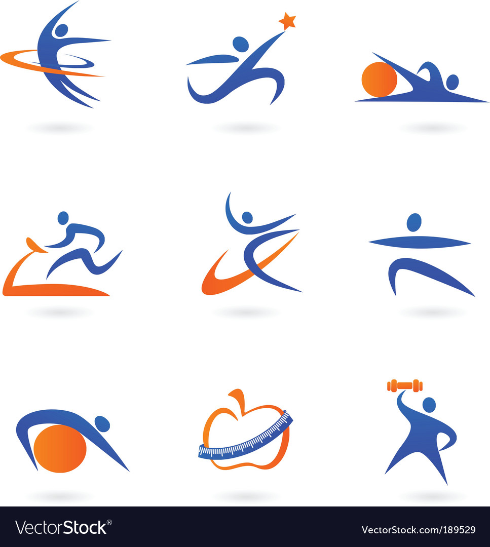 Sport and fitness silhouette vector