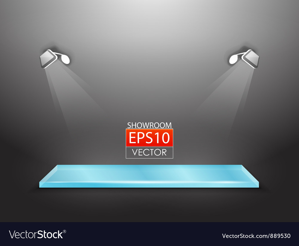 Showroom with spotlights vector