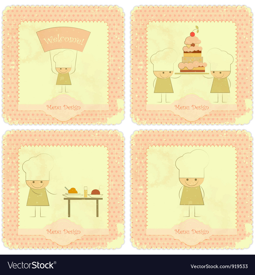 Vintage set of kids menu vector