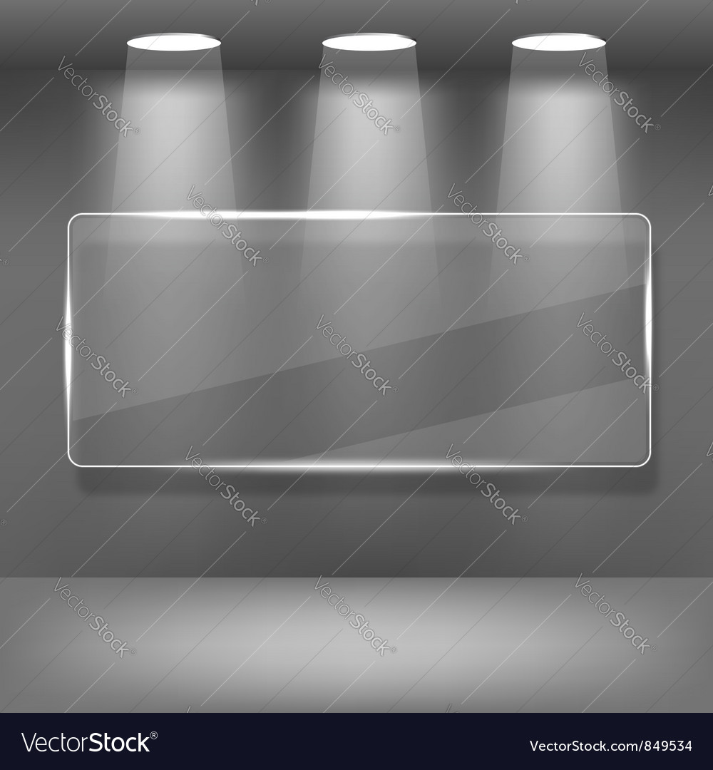 Showcase gallery with glass frame vector