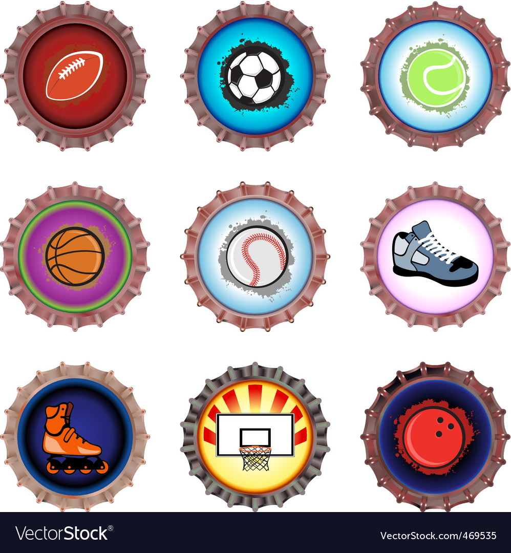 Bottle caps set sport vector
