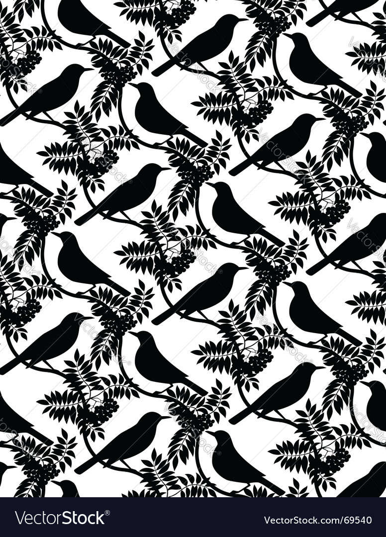 Birds seamless pattern vector