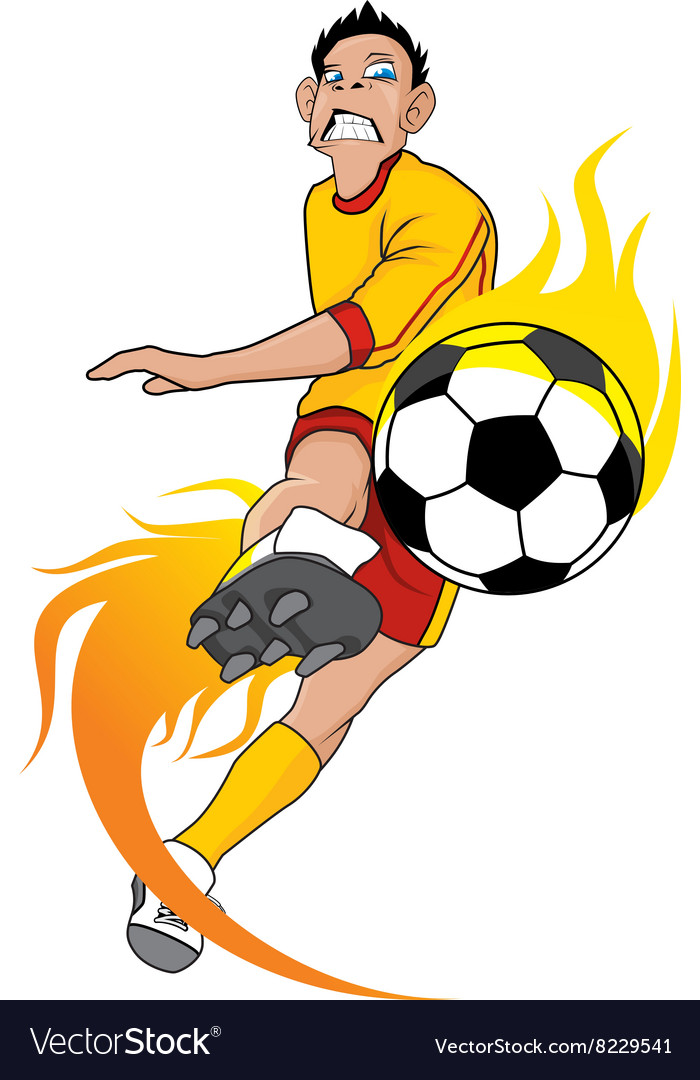 Soccer fire ball kick