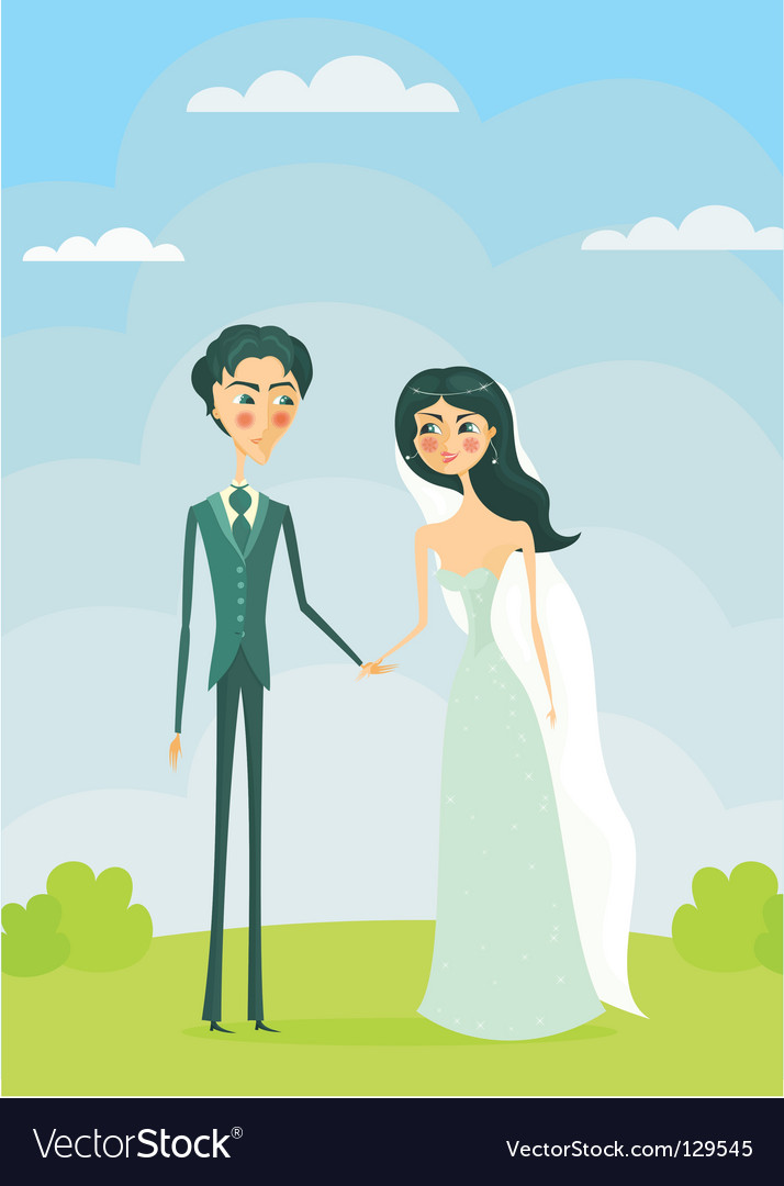Cartoon bride and groom vector