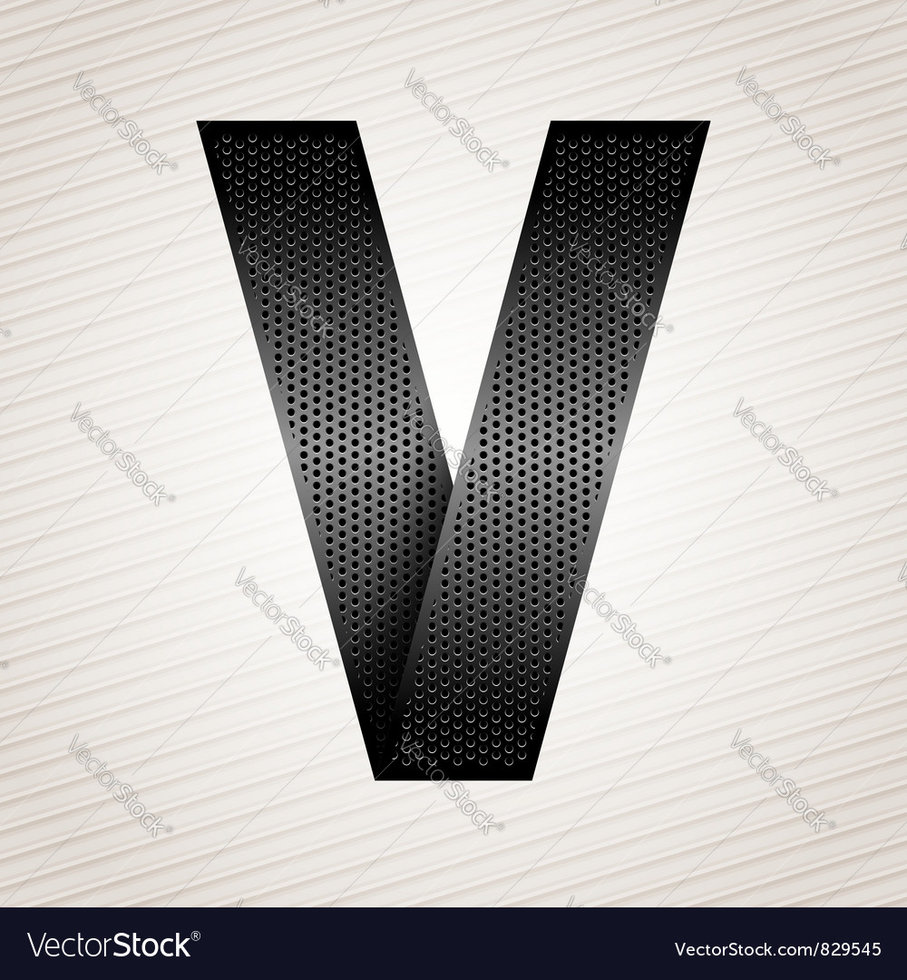 Letter metal ribbon  v vector