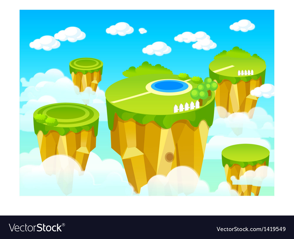 Green landscape mountain top vector