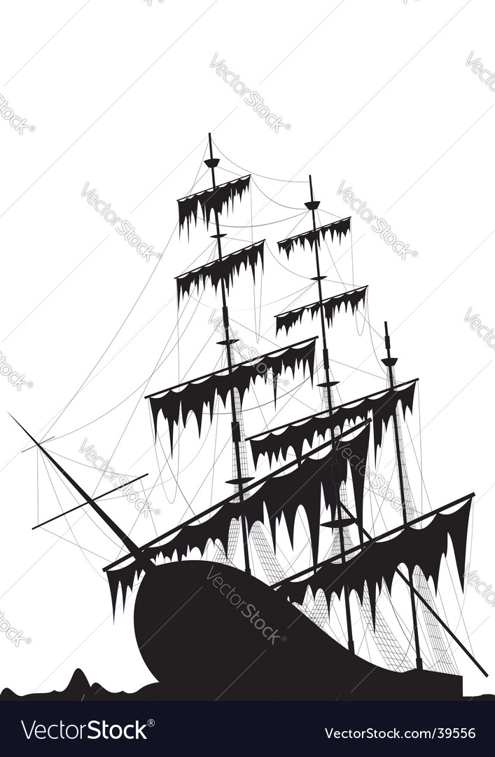 Sunk old ship vector