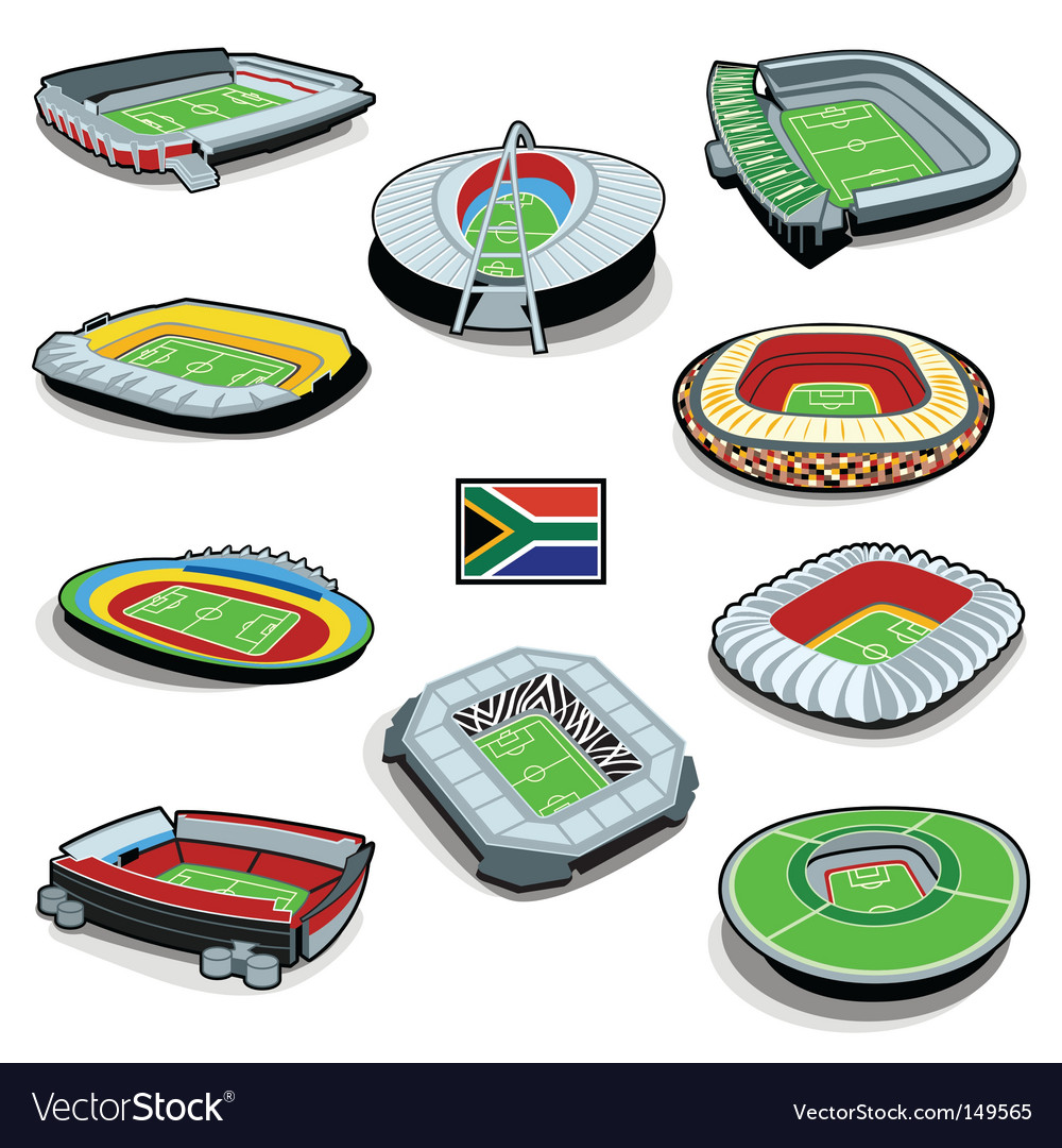 South african soccer stadiums vector