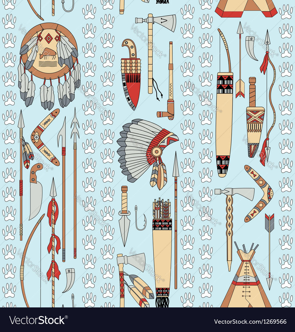 Seamless pattern with native american attributes vector
