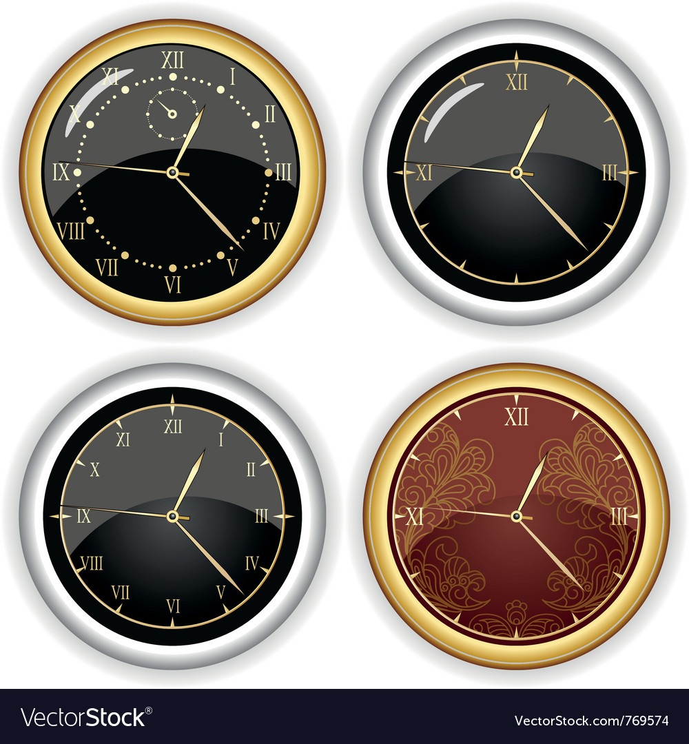 Set of clock designs vector