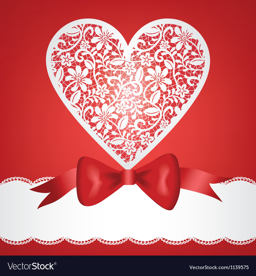 Bow and lace heart vector