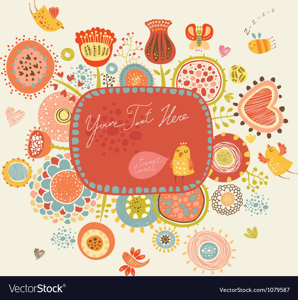 Floral background with funny birds and insects vector