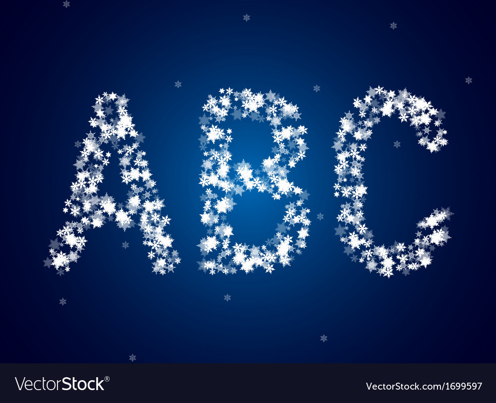 Snow letters over snow background