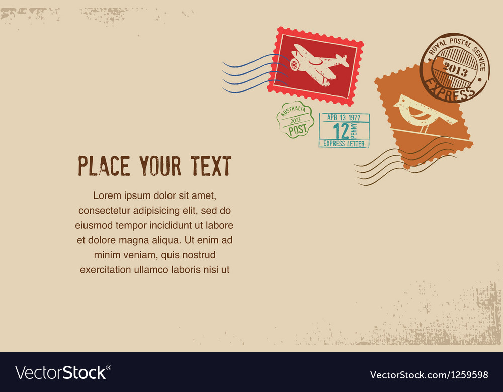 Vintage envelope with rubber stamps vector