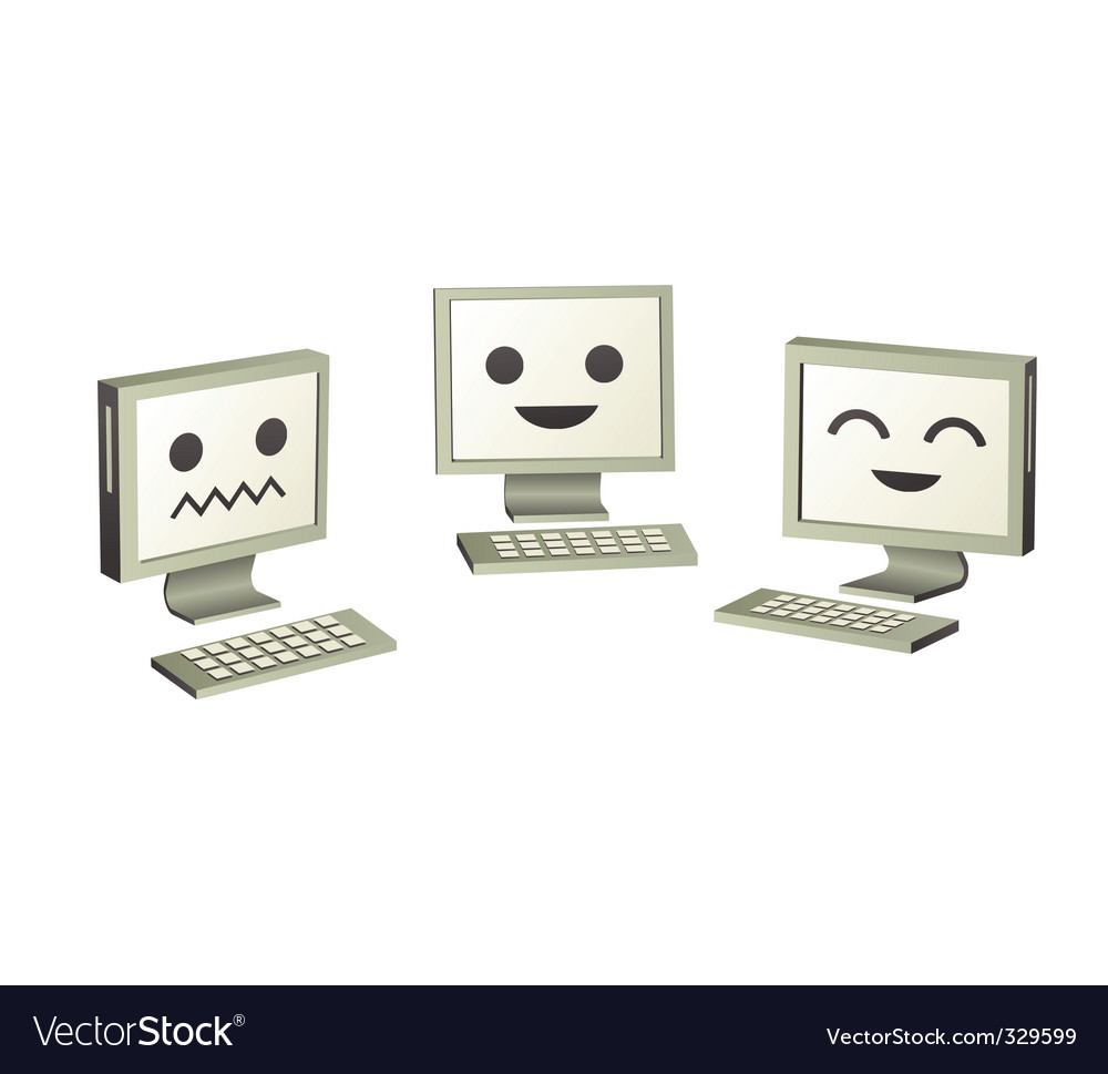 Three cute computers computers vector by nezabarom - Image #329599