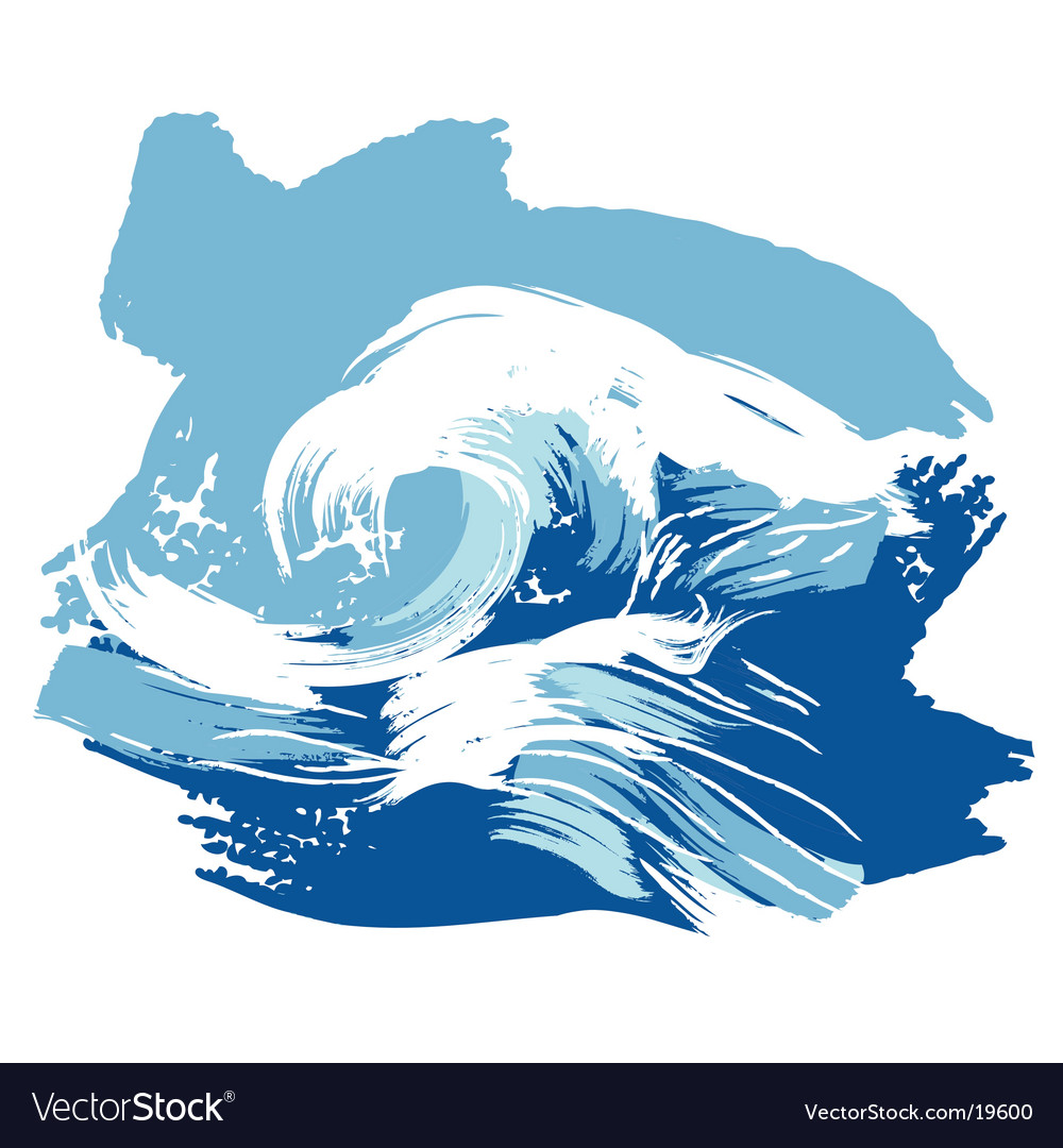Stylized brushed ocean waves splash vector