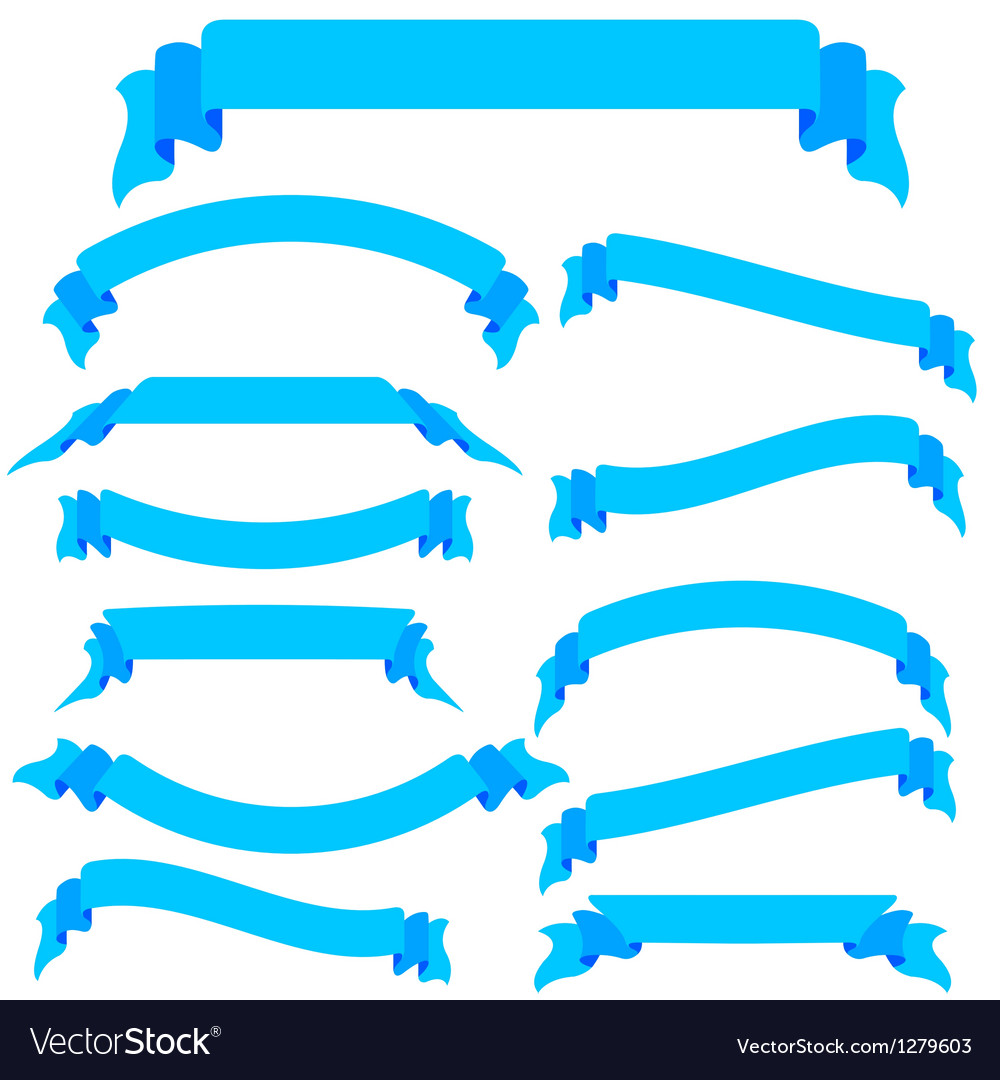 Set blue ribbons and banners vector