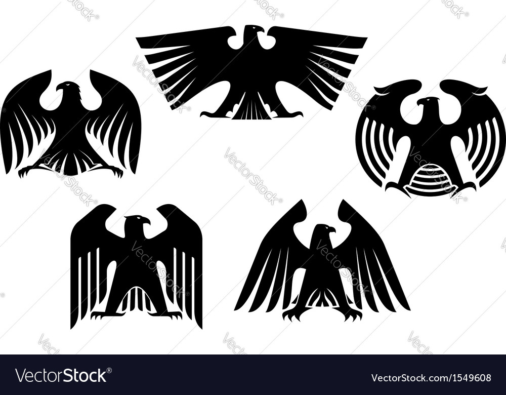 Majestic and powerful heraldic eagles vector