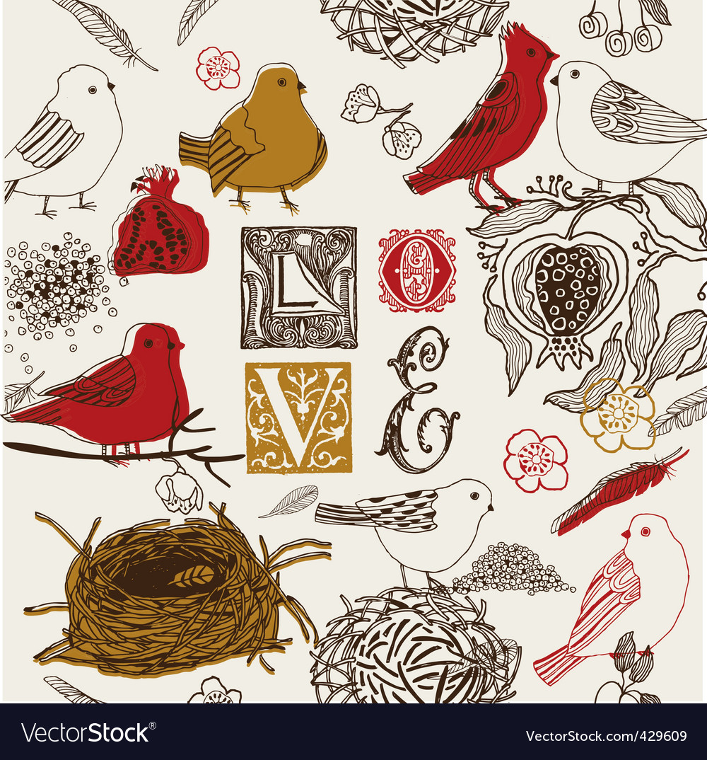 Love birds background vector