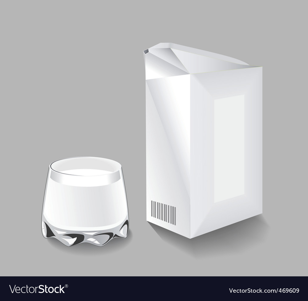 Packaging milk and a glass vector