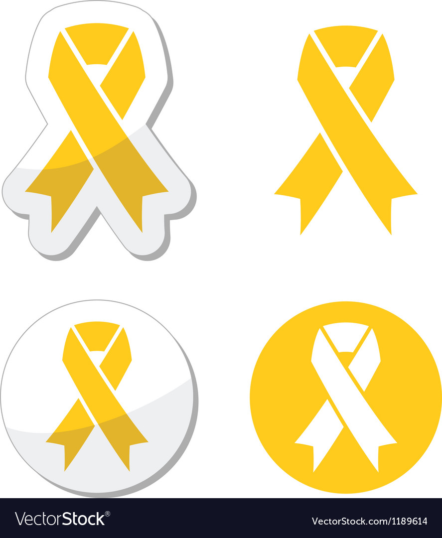 Yellow ribbon  support for troops suicide symbol vector