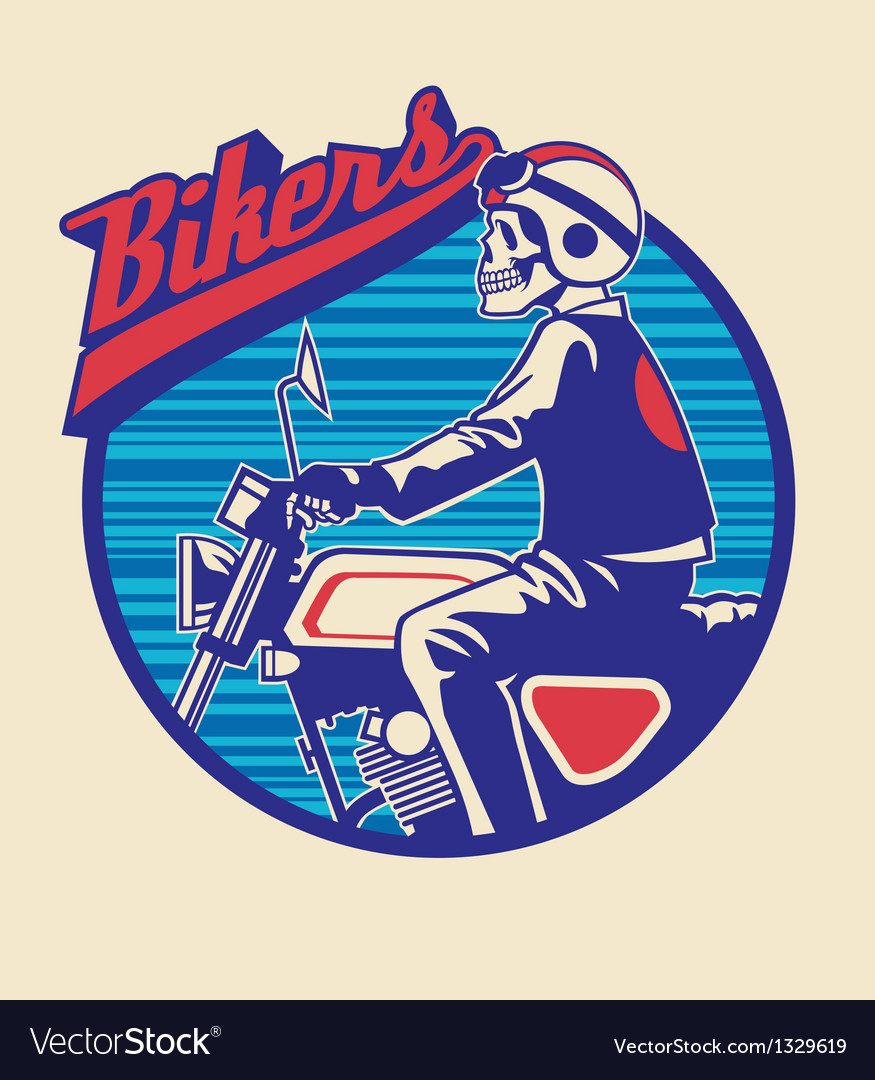Skull rider ride a motor cycle with circle backgro vector