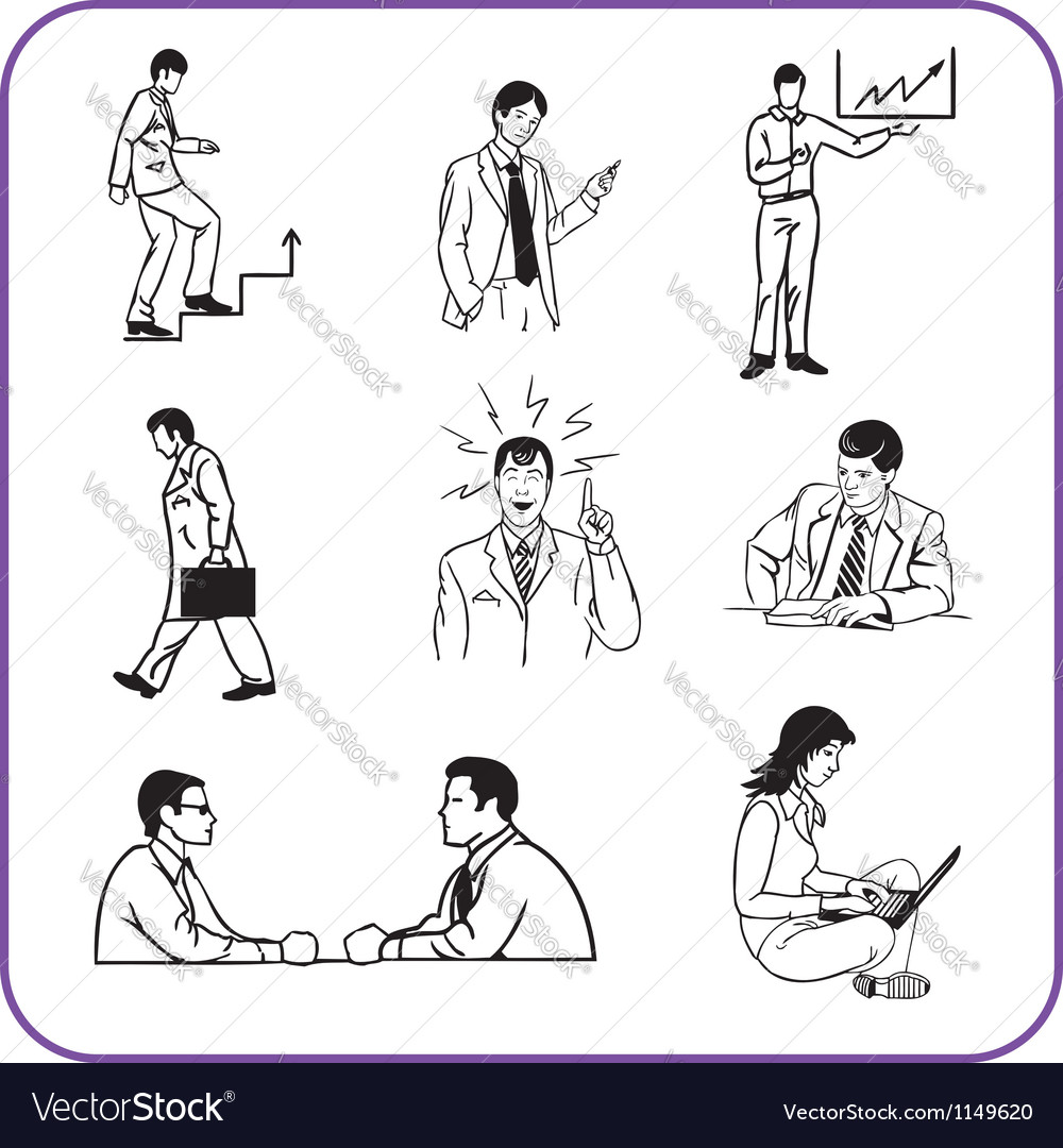 Office workers  business set vector