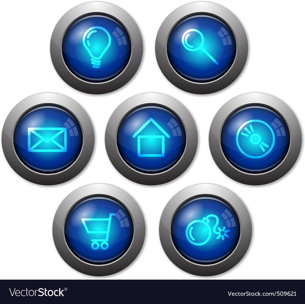 Colorful glassy web buttons vector