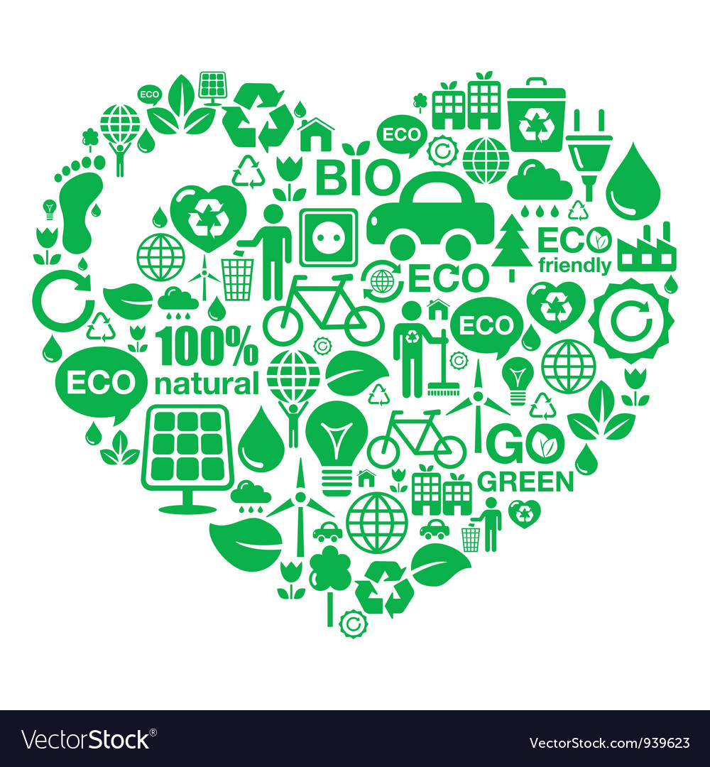 Eco heart background  green ecology vector