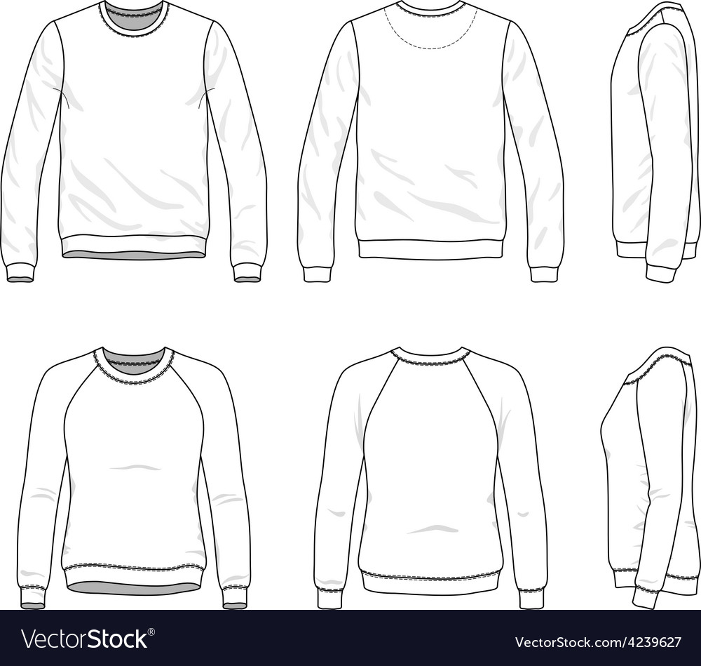 Front back and side views of blank sweatshirt vector by aunaauna ...