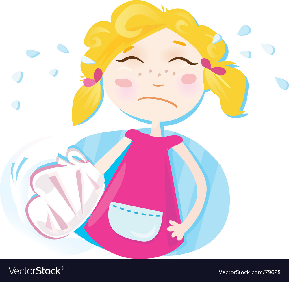 Small girl with broken hand vector