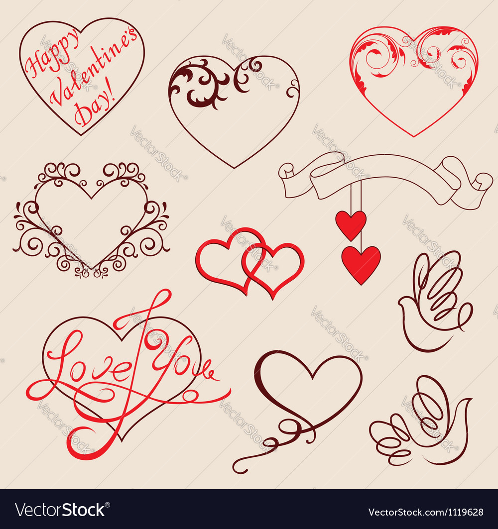 Valentines design elements vector