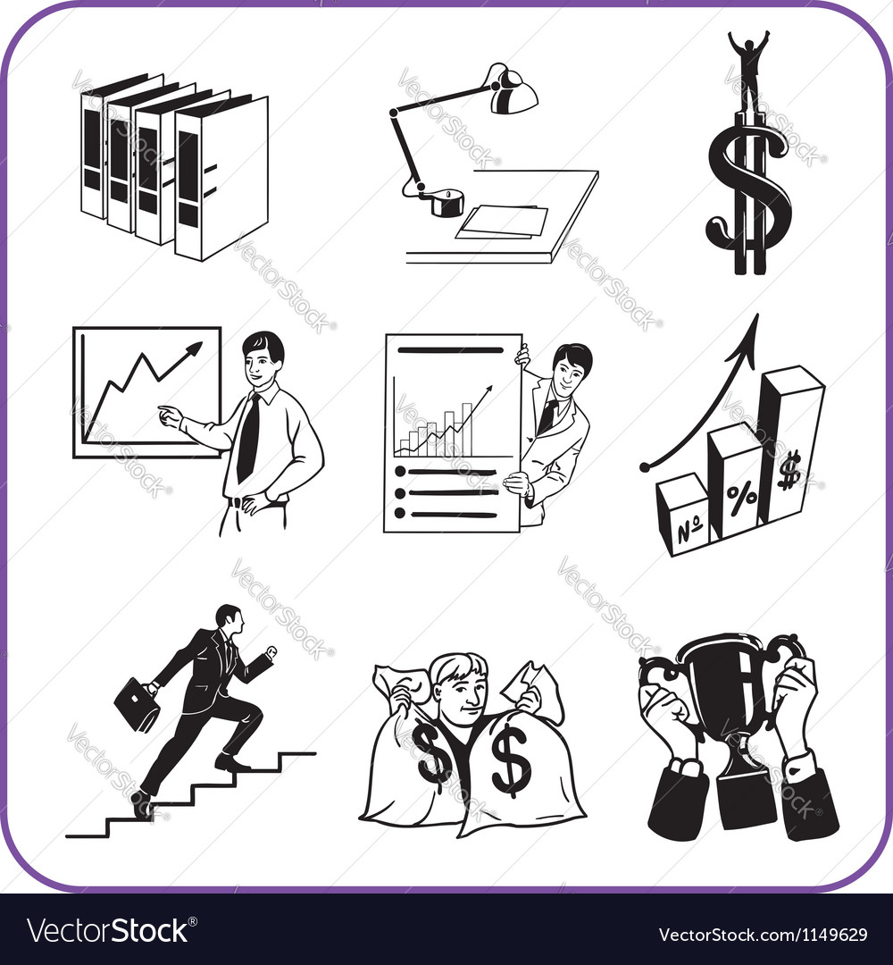 Items office  business set vector