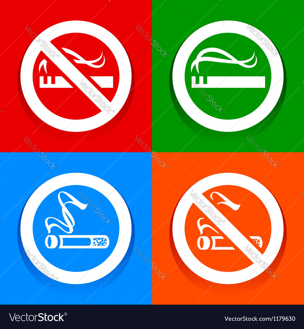 Stickers multicolored no smoking area labels vector