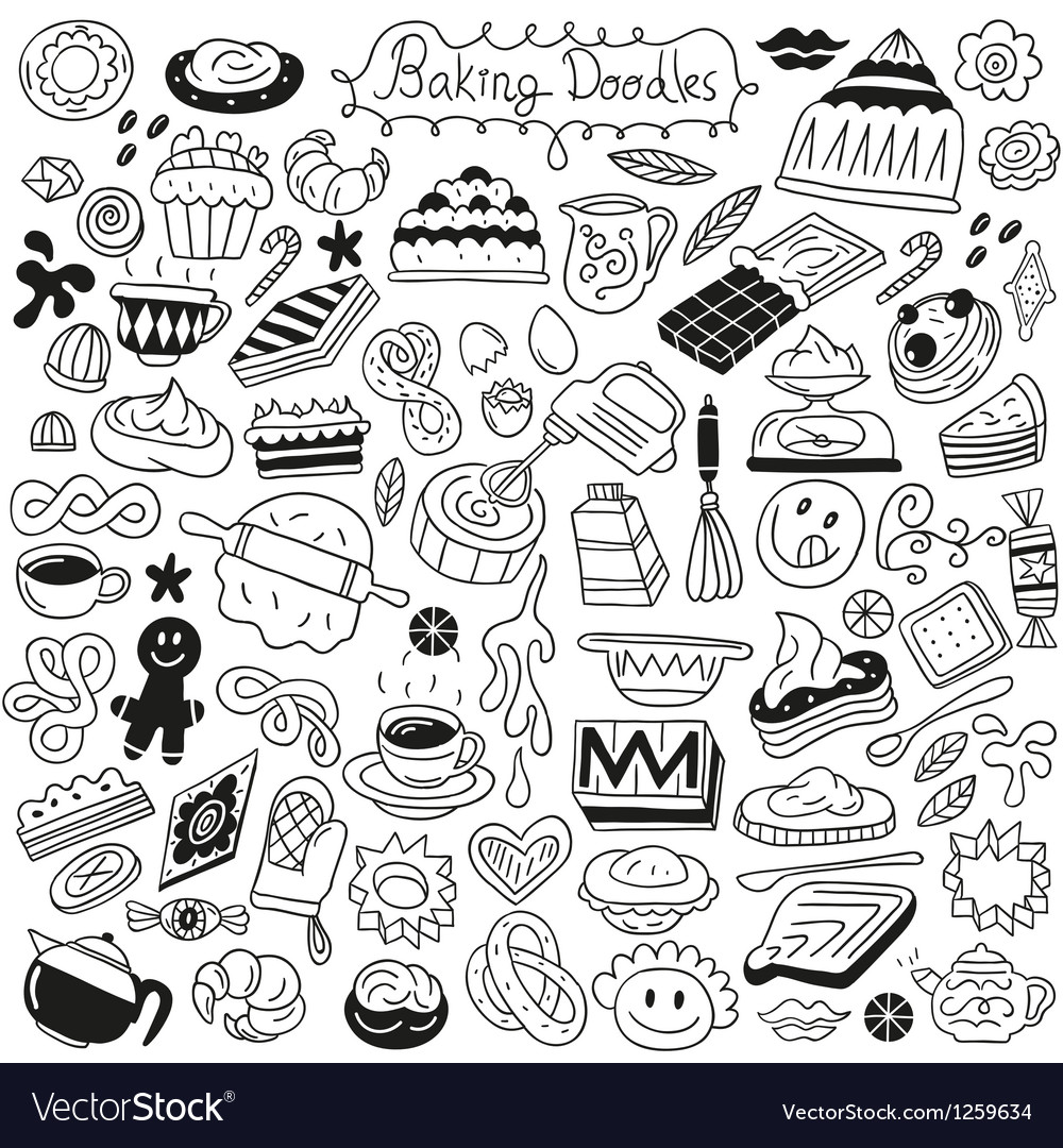 Sweet baking doodles vector