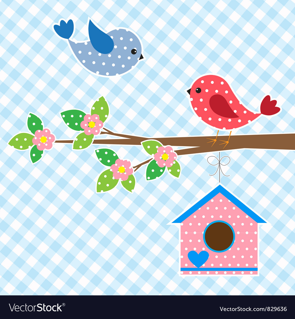 Couple of birds and birdhouse vector