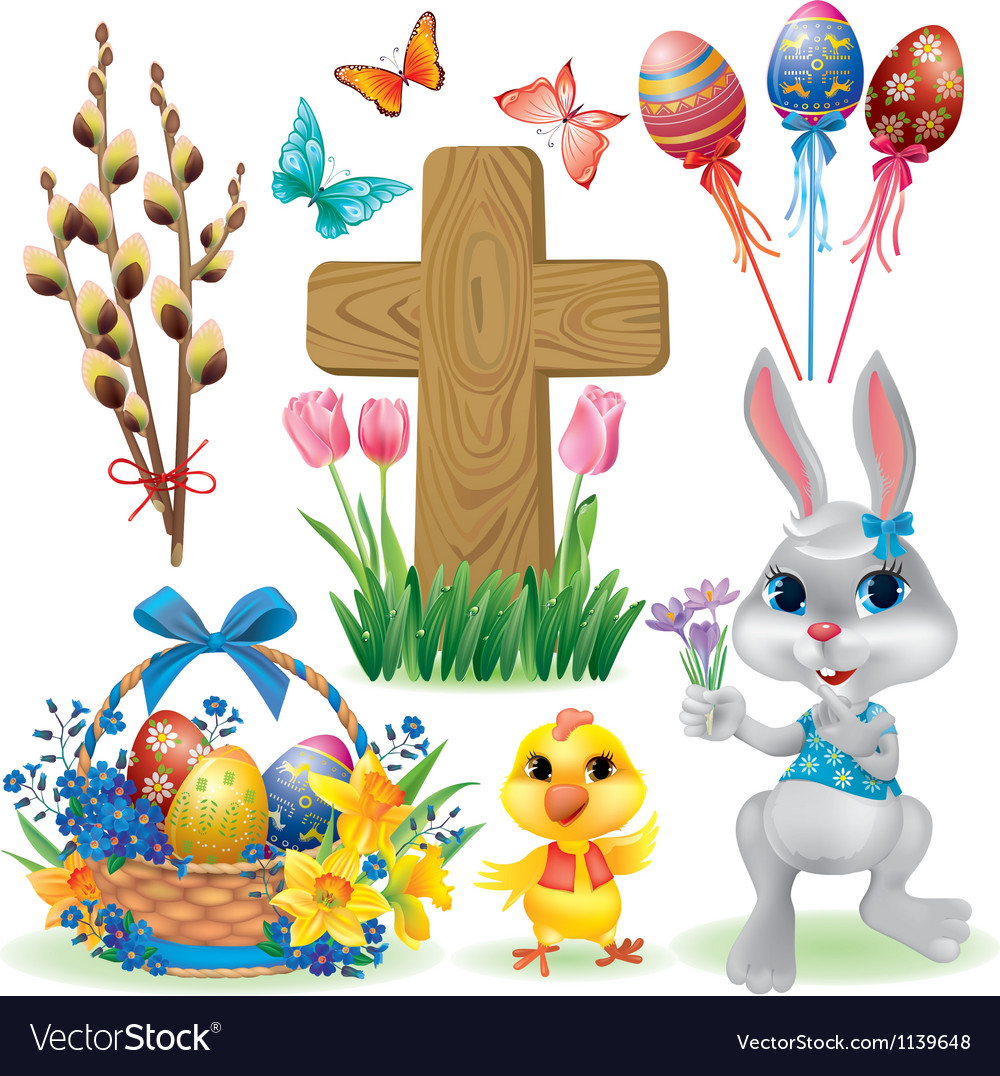 Easter symbols set vector