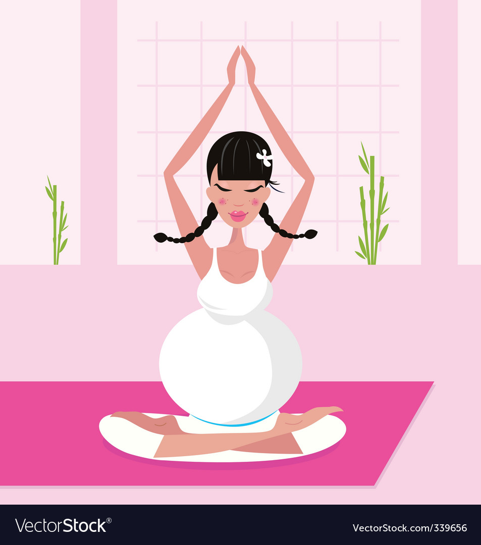 Yoga pregnant woman vector