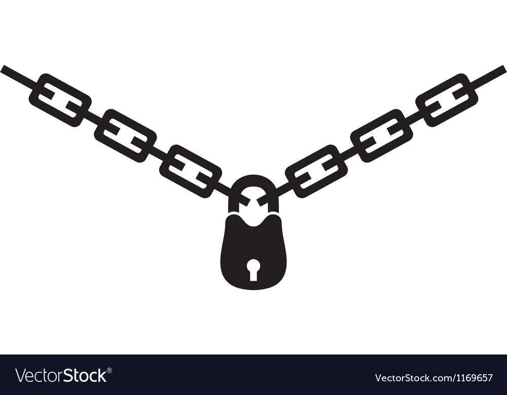 Chain and padlock silhouette vector